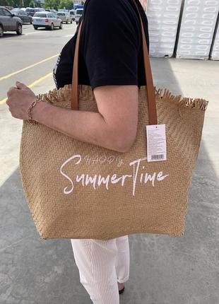 Стильная большая соломенная сумка пляжная шоппер шопер