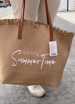 Стильная большая соломенная сумка пляжная шоппер шопер2 фото