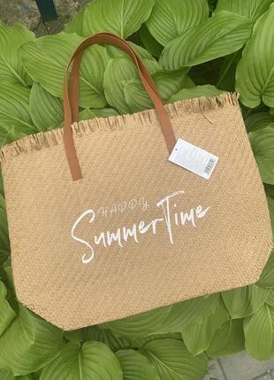 Стильная большая соломенная сумка пляжная шоппер шопер3 фото