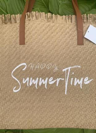 Стильная большая соломенная сумка пляжная шоппер шопер4 фото