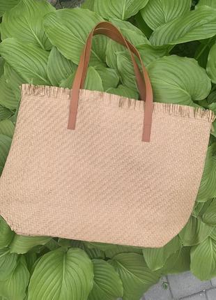 Стильная большая соломенная сумка пляжная шоппер шопер7 фото