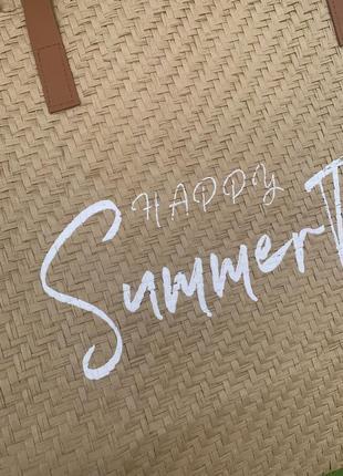 Стильная большая соломенная сумка пляжная шоппер шопер5 фото