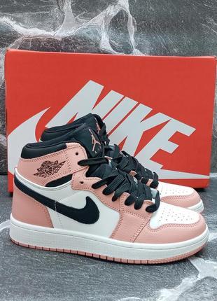 Женские кроссовки nike air jordan кожаные,высокие