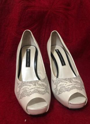 Туфли белая кожа брендовые l.carvari в оригинальной упаковке