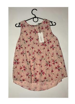 Шифоновая легкая цветочная майка / блуза без рукава