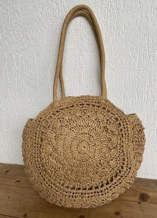 Фирменная стильная качественная натуральная плетеная пляжная сумка