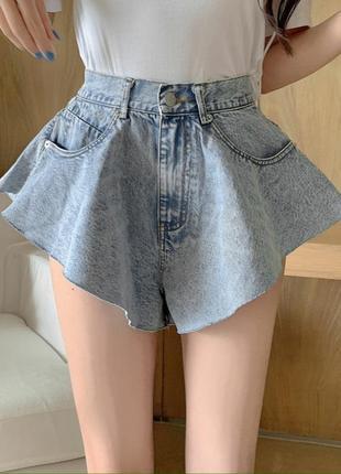 Шорты юбкой, юбкашорты, широкие джинсовые женские шорты. жіночі спідниця шорти жіночі джинсові.