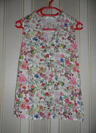 Летняя блуза / цветочный принт /  без рукавов размер 36// s вискоза  reserved