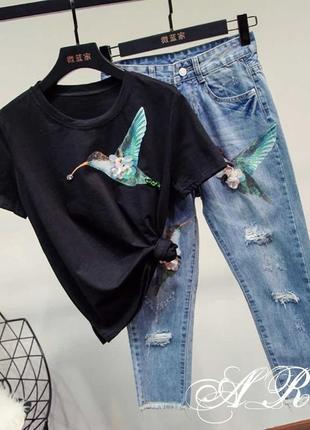 Комплект джинсы+футболка с аппликацией