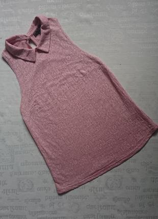 Хорошенькая блуза без рукавов topshop/ летний топ с воротником/красивая майка с узором