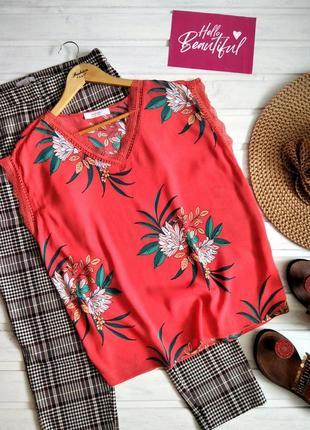 Яркая блуза с кружевом, из натуральной ткани, в цветочный принт