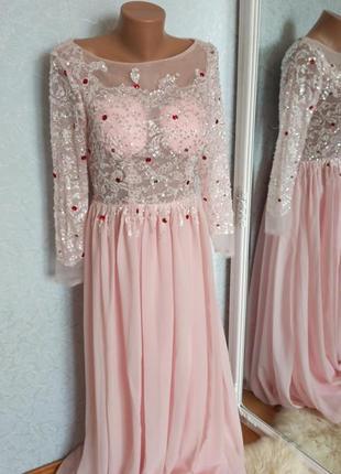 Платье вечернее стразы камни пайетки розовое свадебное выпускное