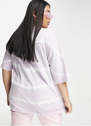 Лиловая футболка оверсайз в размытый принт свободная большого размера asos