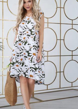 Шикарное цветочное свободное платье без рукавов!
