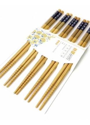 Палочки для еды бамбук с картинкой в блистере набор 5 пар