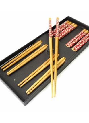 Набор палочек для суши бамбук с красным рисунком 5 пар