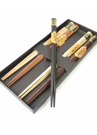 Палочки для еды деревянные ассорти 5 видов набор 5 пар