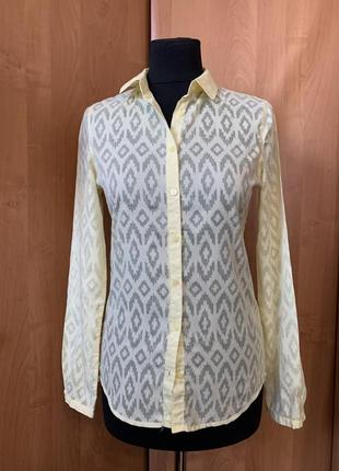 Блуза рубашка желтая oodji p.34