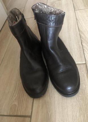 Кожаные немецкие сапоги полусапожки на цигейке