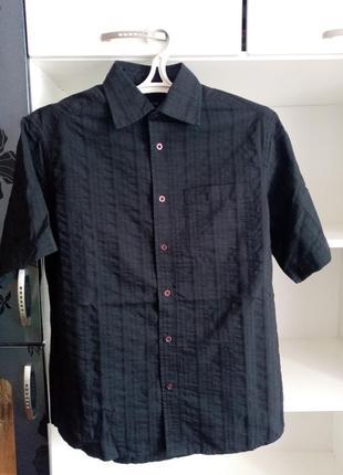Летняя черная мужская рубашка чорна чоловіча літня сорочка