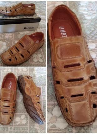 Туфли летние мокасины натуральная кожа 26,5см