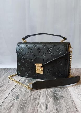 Чёрная сумка канва кожа3 фото