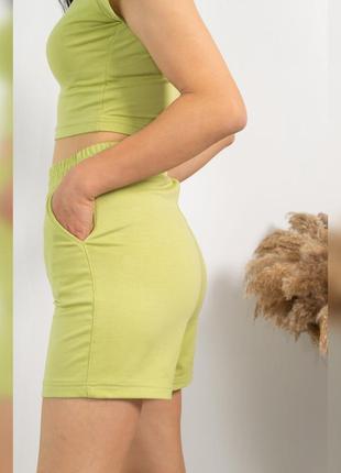 Короткие женские салатовые шорты, трендовые цвета, спортивные шорты, хлопок