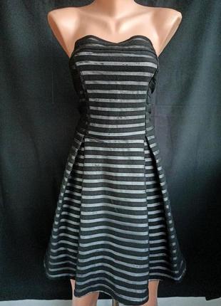 Очаровательное полосатое платье миди с открытым верхом, открытыми плечами