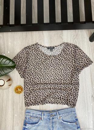 Топ леопард сетка, футболка очень легкая , стильная, размер m-l
