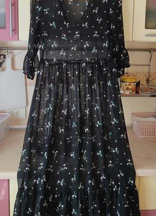 Пляжное светящееся платье с оборками в принт h&m