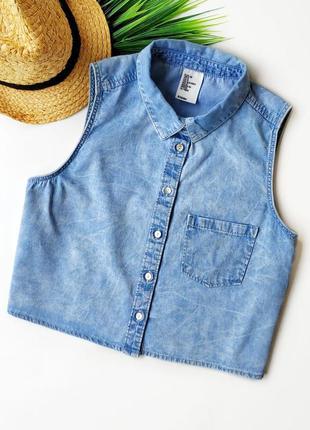 Джинсовая укороченая рубашка без рукавов h&m.