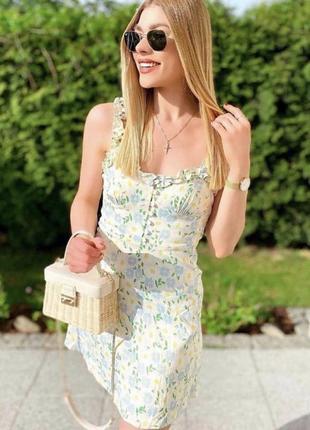 Платье сатиновое с рюшками воланами оборки цветочный принт сарафан zara оригинал