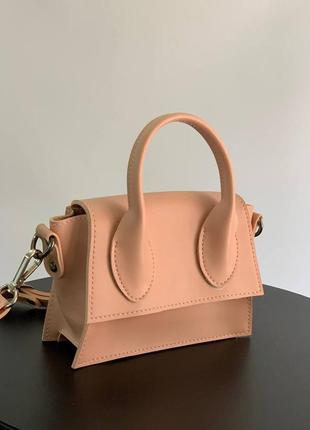Персиковая сумка , розовая сумка , сумка с длинным ремешком , сумка с короткими ручками