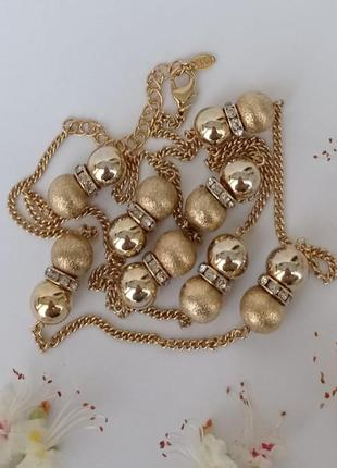 M&s ожерелье из металлических бусин в золотистом тоне, англия, винтаж