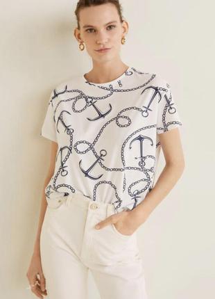 Кроп топ футболка морская с якорями белая zara asos h&m