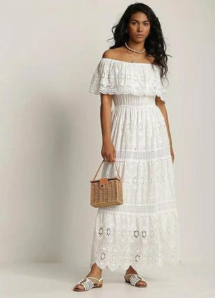 Женское длиное белое платье из натуральной ткани