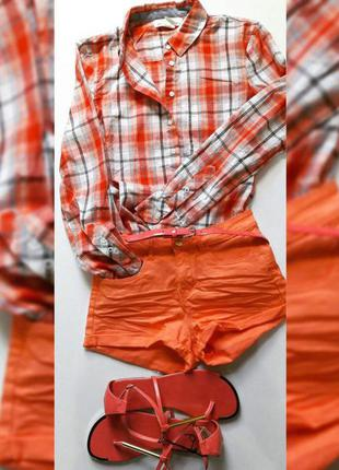 Стильная рубашка оранжевая в клетку