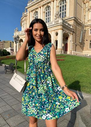 Платье женское летнее легкое свободное короткое без рукава батал