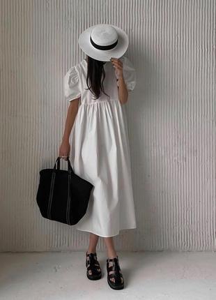 Длинное белое / черное платье / рукав буф
