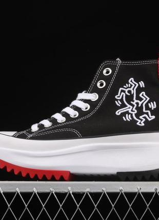 Кеды женские converse run star hike hi keith haring черные/белые/красные (конверс, кеди)