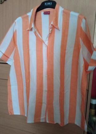 Брендовая рубашечка накидка из льна