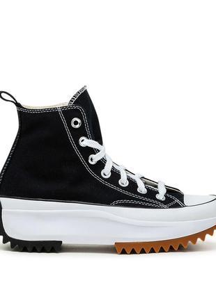 Кеды женские converse run star hike black white gum черные/белые (конверс, кеди)