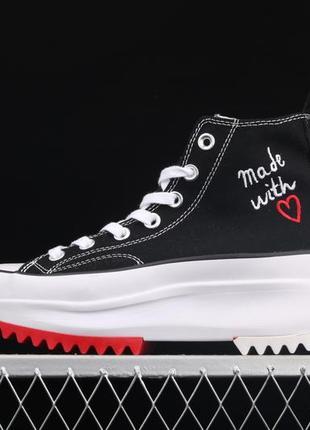 Кеды женские converse run star hike hi made with love valentines day черные/белые (конверс, кеди)