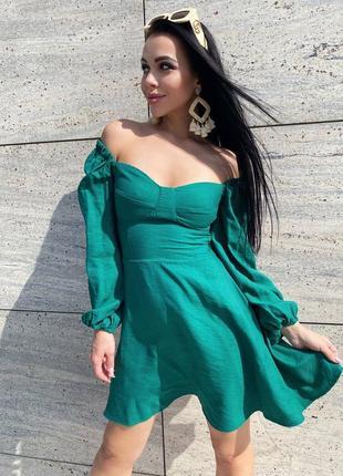 Натуральное платье с имитацией чашки жатый коттон хлопок