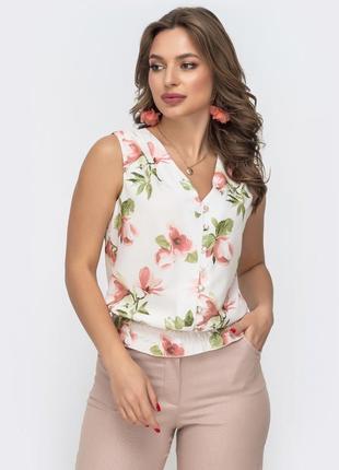 Легкая блуза из софта без рукавов блузка летняя светлая в деловом стиле для офиса