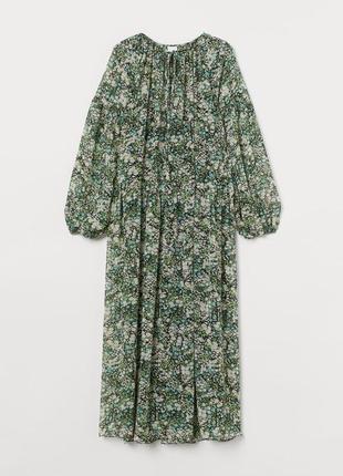 Шифоновое платье в цветочный принт h&m,p.m-l