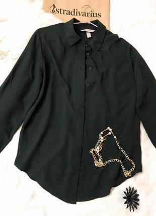 Класна рубашка темно зеленого кольру h&m