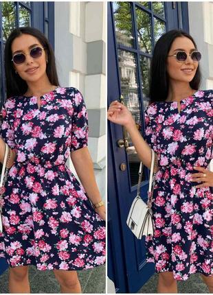 Платье летнее женское легкое свободное цветочное батал короткое мини