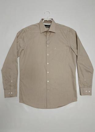 Мужская хлопковая рубашка seidensticker в коричневую полоску