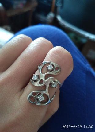 Красивенное серебряное кольцо серебро 925 проба, р.17,5-18